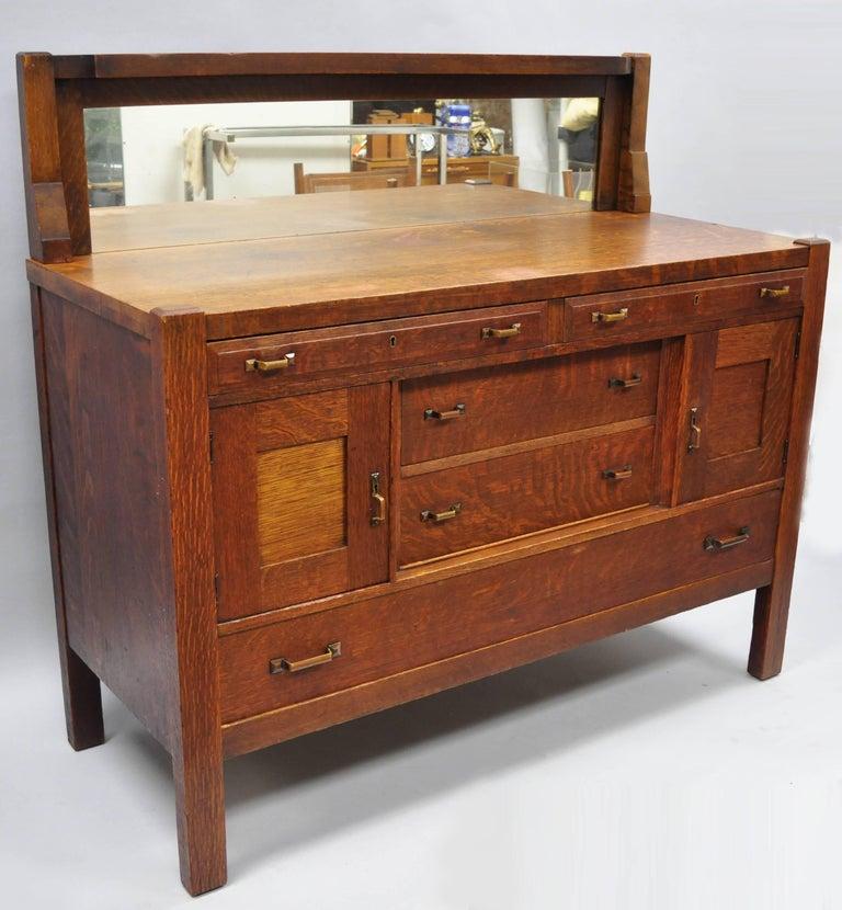 J K Rishel Mission Arts And Crafts Oak Sideboard Buffet