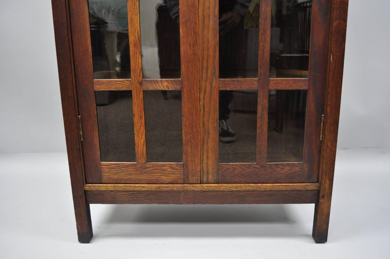 Early 20th Century Gustav Stickley Mission Arts Crafts Oak Glass Door China Cabinet Curio Bookcase For Sale