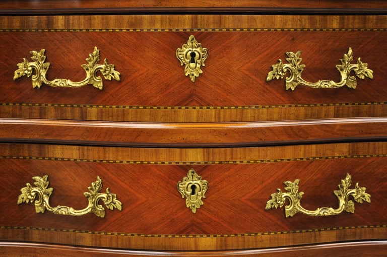 Wood Pair of French Louis XV Style Bombe Commode Banded Top Chest of Drawers For Sale