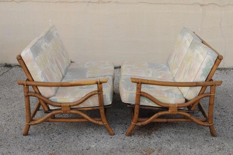 Mid Century Ficks Reed 5 Piece Rattan Tiki Set Bamboo Sofa
