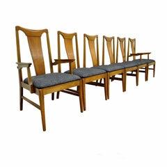 Six Mid Century Danish Modern Curved Back Walnut Dining Chairs