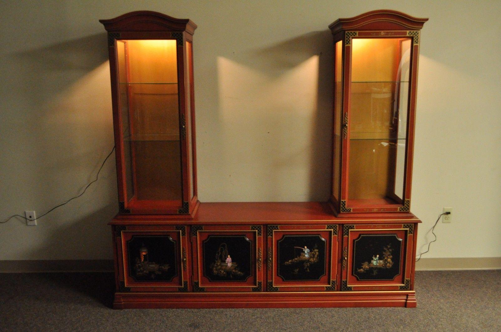 Vintage Chinoiserie / Oriental Style Three Piece Display Cabinet By Jasper  Cabinet Company. Item Features