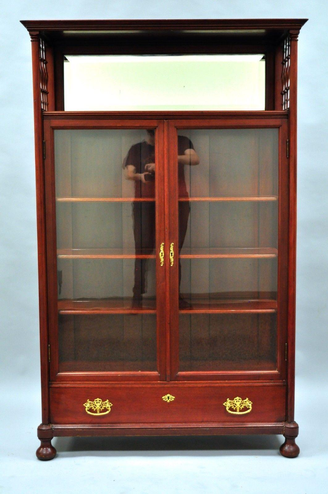 Antique Victorian Mahogany And Glass Two Door Bookcase. Item Features Solid  Wood Construction,
