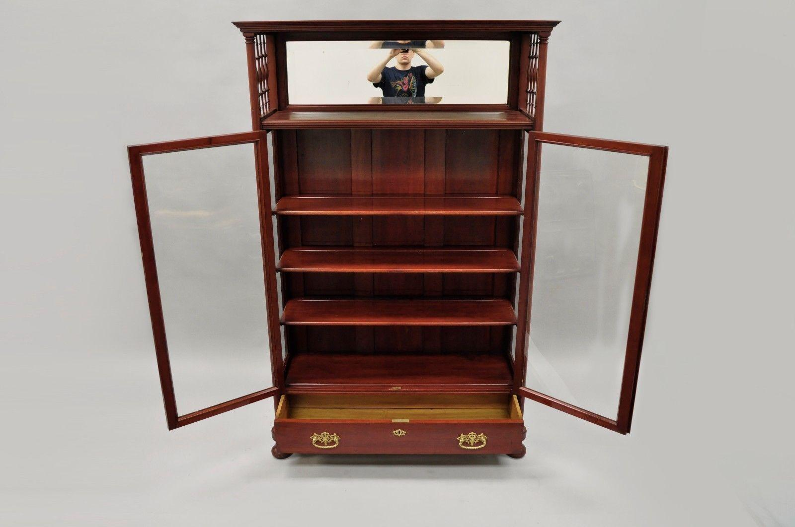 American Antique Victorian Two Door Mahogany U0026 Glass Bookcase Curio Cabinet  Display Shelf For Sale