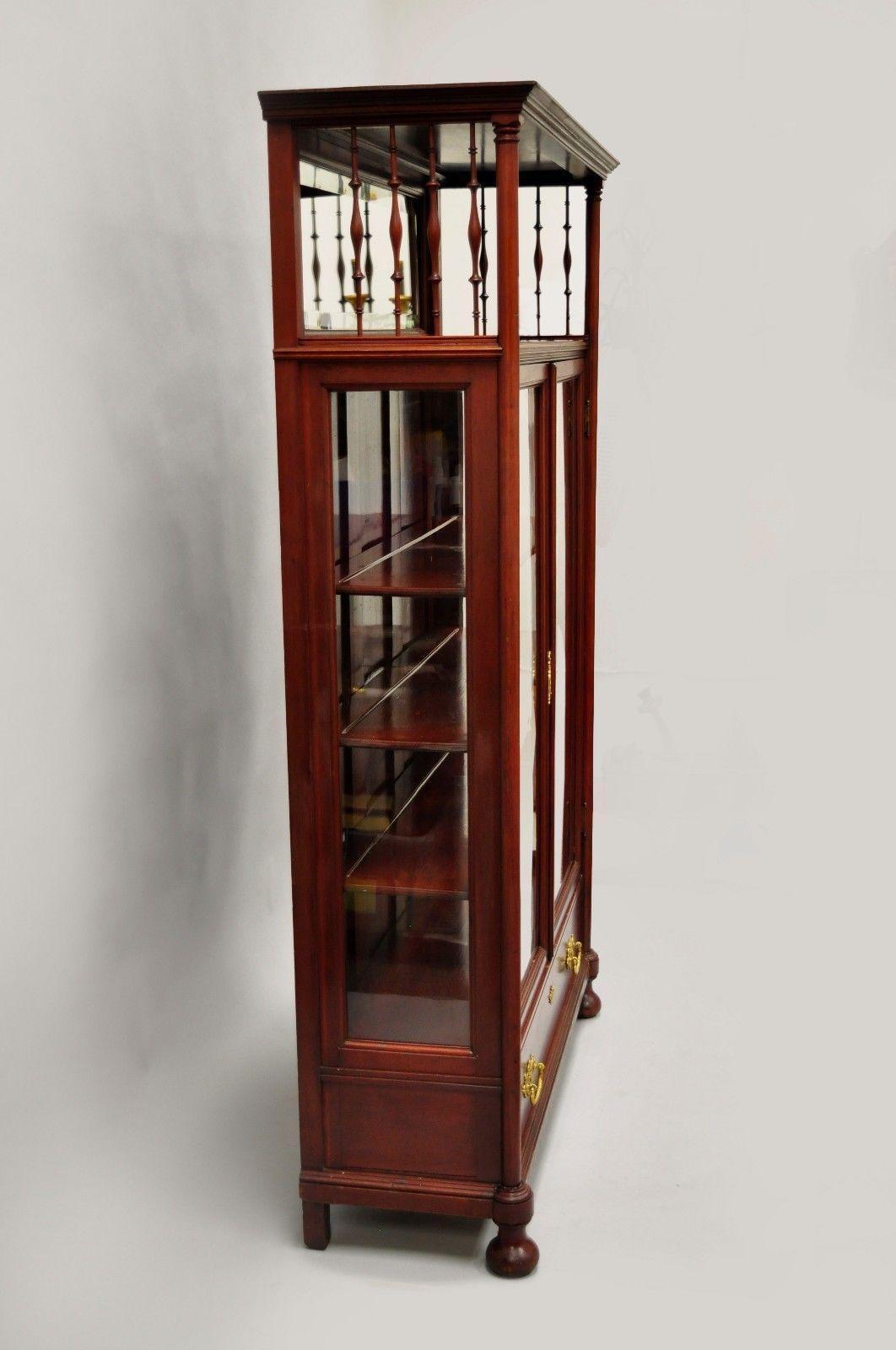 Antique Victorian Two Door Mahogany U0026 Glass Bookcase Curio Cabinet Display  Shelf For Sale 7