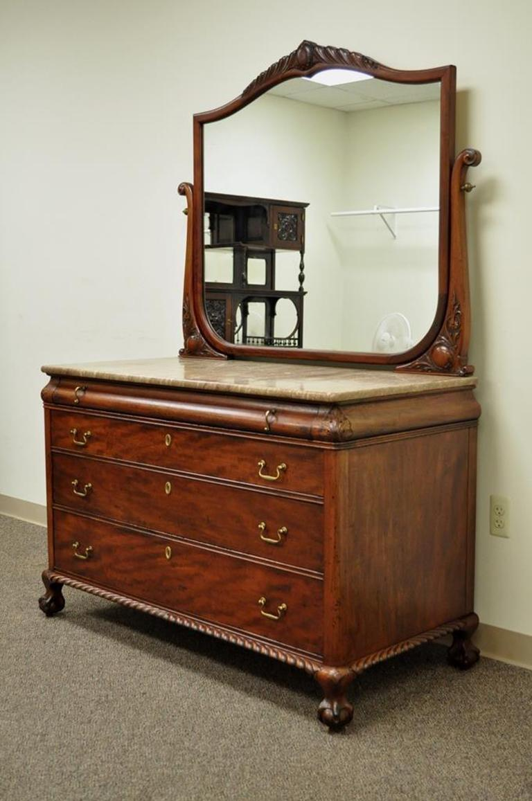 Antique Marble Top Solid Carved Mahogany Victorian Low Dresser And Matching Mirror Item Features