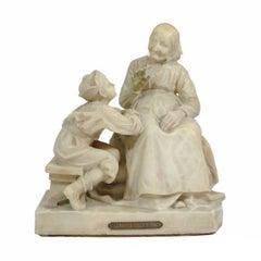 Vintage Carved La Favola Della Nonna Marble Statue Sculpture Tale of Grandma