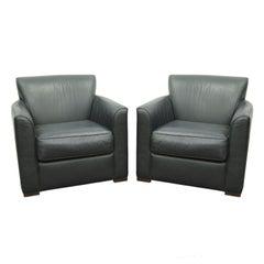 Pair of Martin Brattrud Augusta Green Leather Lounge Club Chairs Art Deco Modern