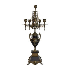 French Empire Neoclassical Brass and Black Marble Mantle Candelabra Candleholder