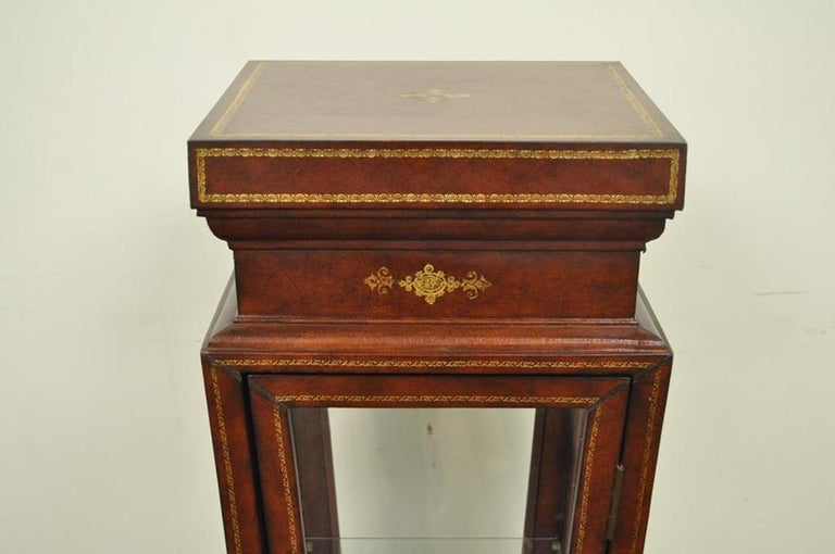 Regency Burgundy Tooled Leather Glass Display Case Curio Stand Pedestal Maitland-Smith For Sale