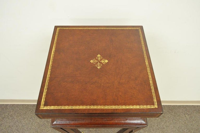 Burgundy Tooled Leather Glass Display Case Curio Stand Pedestal Maitland-Smith In Good Condition For Sale In Philadelphia, PA