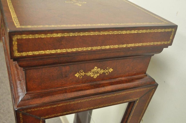 Burgundy Tooled Leather Glass Display Case Curio Stand Pedestal Maitland-Smith For Sale 1