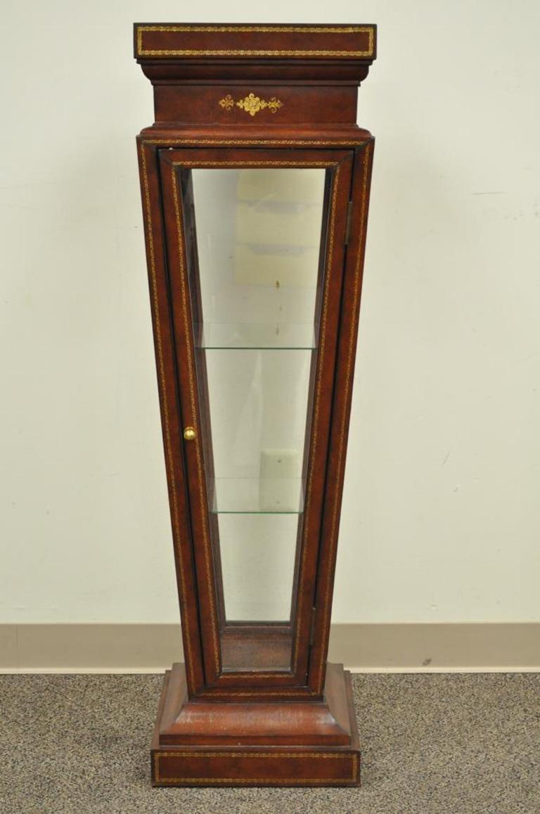 Burgundy Tooled Leather Glass Display Case Curio Stand Pedestal Maitland-Smith For Sale 3