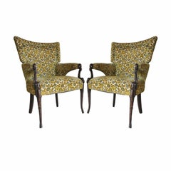 Pair of Vintage Hollywood Regency Mahogany Dolphin Serpent Fire Side Armchairs