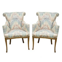 Pair of Vintage French Hollywood Regency Rolled Back Fireside Parlor Armchairs