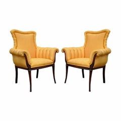 Pair of Vintage Orange Hollywood Regency French Style Carved Fireside Armchairs