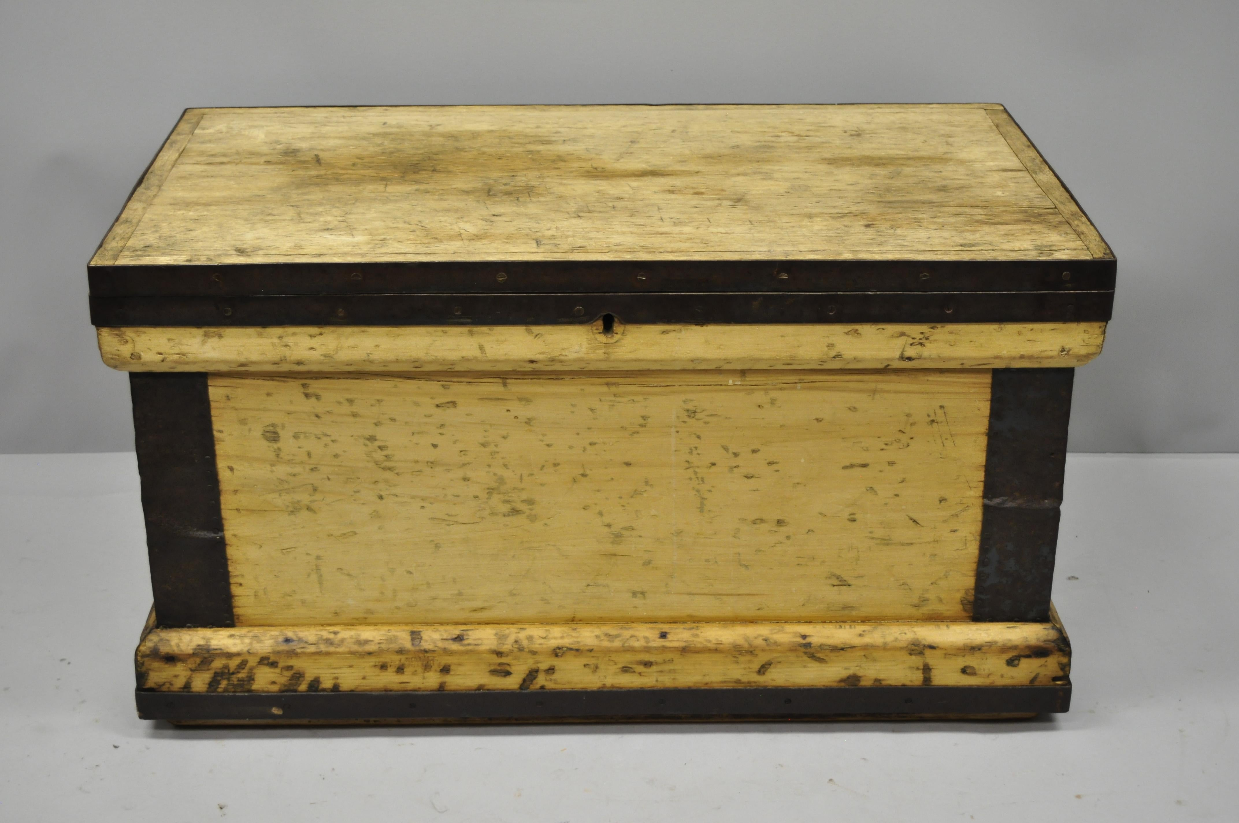 Antique Wood And Cast Iron Primitive Industrial Trunk Blanket Storage Chest.  Item Features Heavy Solid