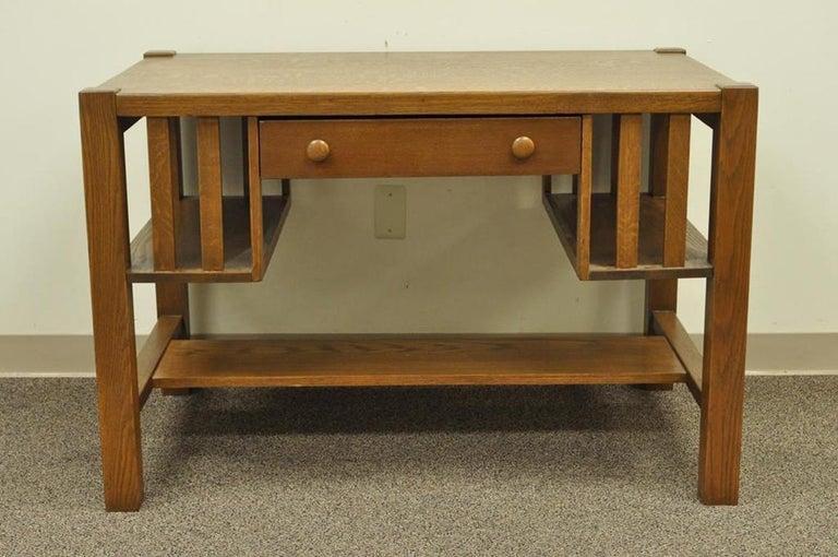 Antique Mission Arts & Crafts solid oak writing desk. Item features solid  quartersawn oakwood construction - Antique Mission Arts And Crafts Oak Writing Library Desk Table
