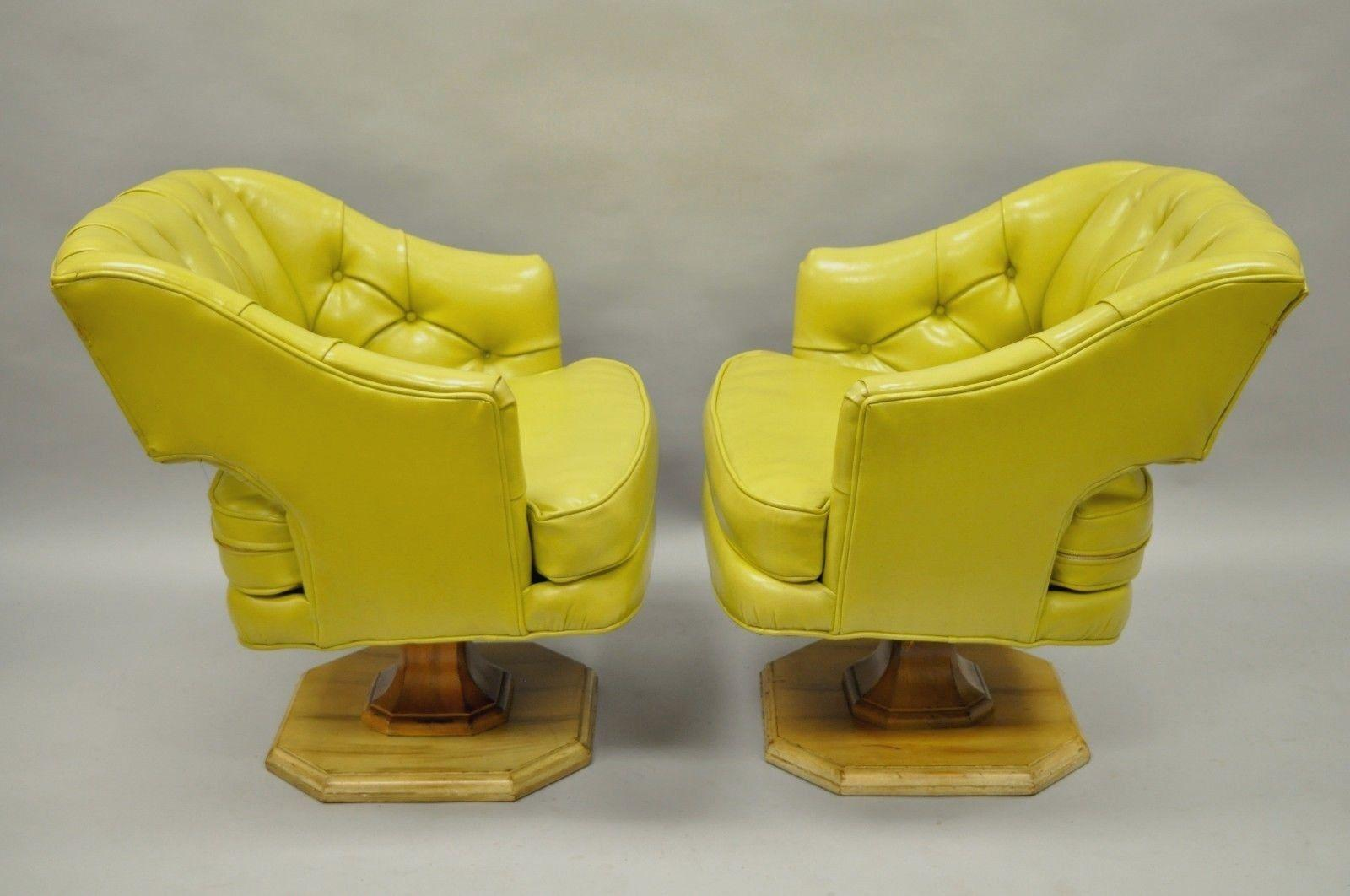 Bon American Pair Of Silver Craft Green Yellow Swivel Club Lounge Chairs  Mid Century Modern A