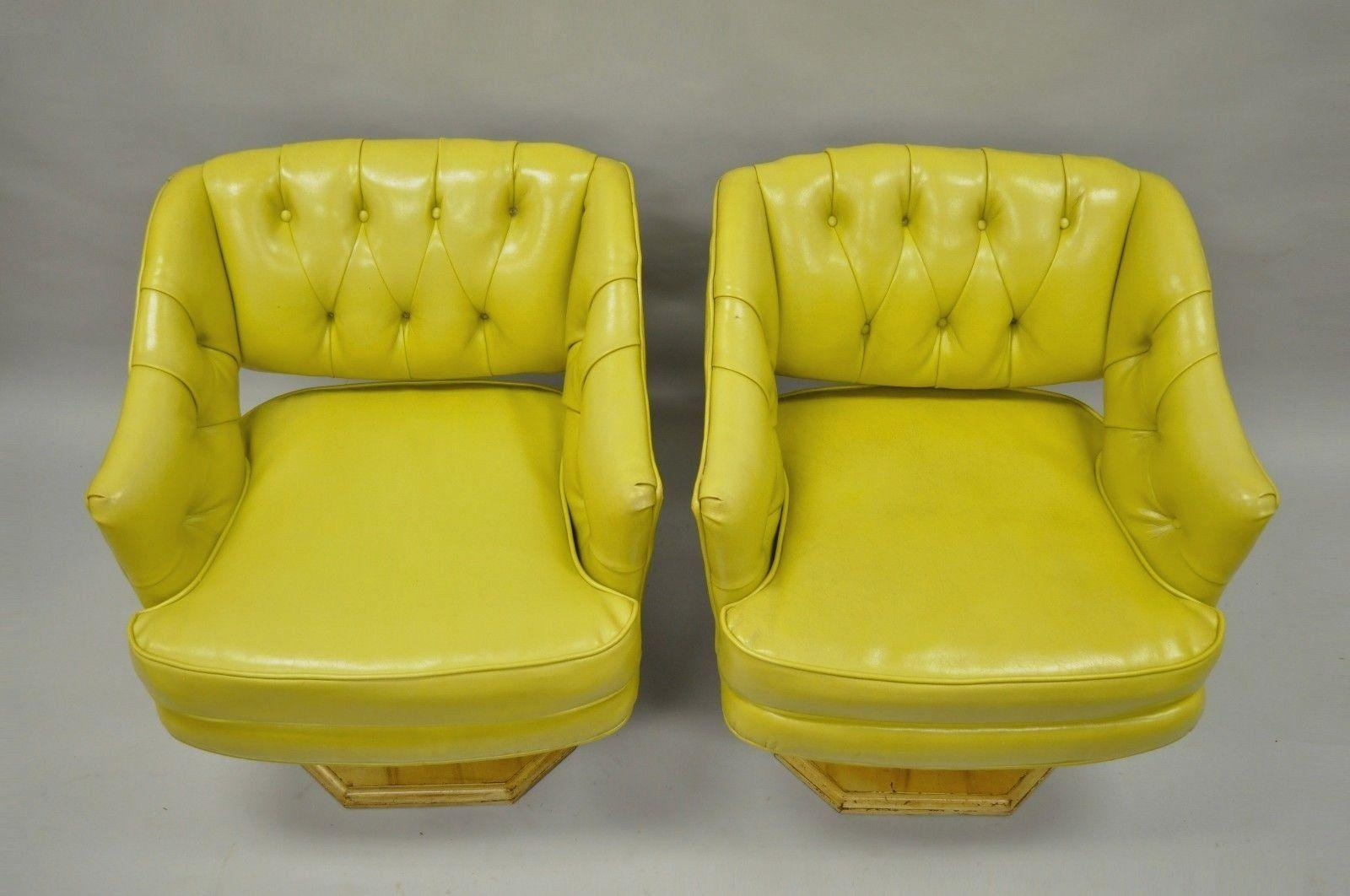 Pair Of Silver Craft Green Yellow Swivel Club Lounge Chairs Mid Century  Modern A In
