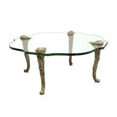 Vintage Hollywood Regency Carved Wood Faux Bois Glass Top Coffee Table Baguès