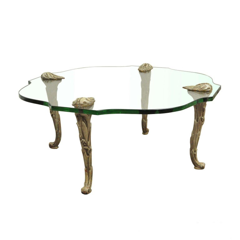 Vintage Gilded Iron Faux Bois Coffee Table with Tole Painted Tray ...