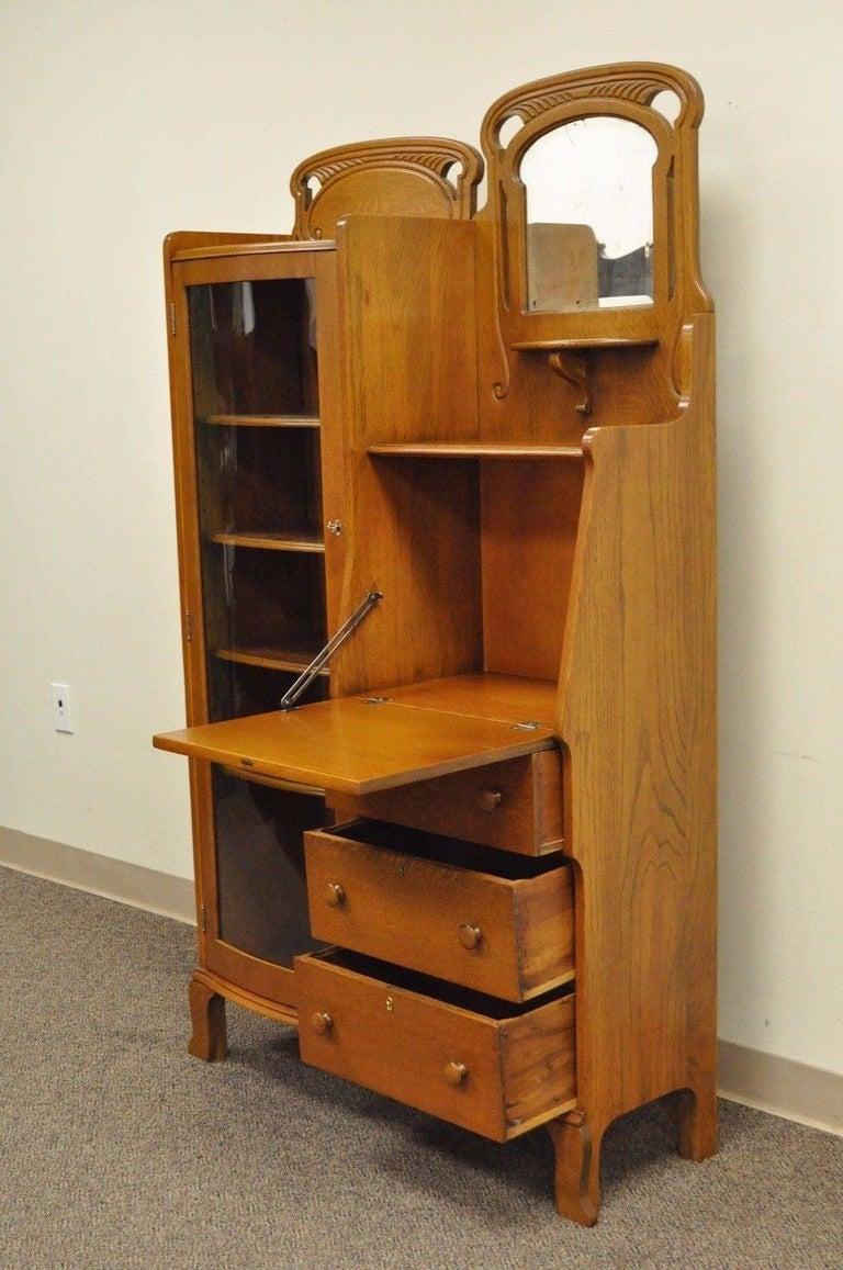 American Antique Victorian Golden Oak Bow Glass Side By Bookcase Secretary Desk For