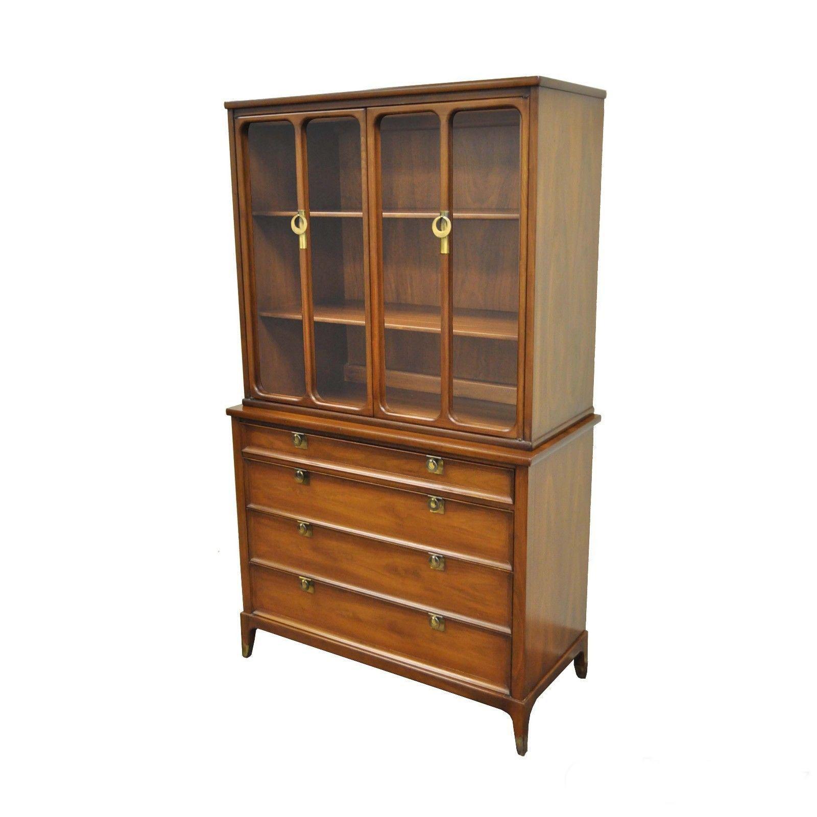 Vintage Narrow Mid Century Modern White Furniture Walnut Bookcase China  Cabinet