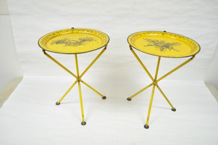 Pair Of Vintage Italian Neoclical Style Tole Metal Small Folding Side Tables Item Features