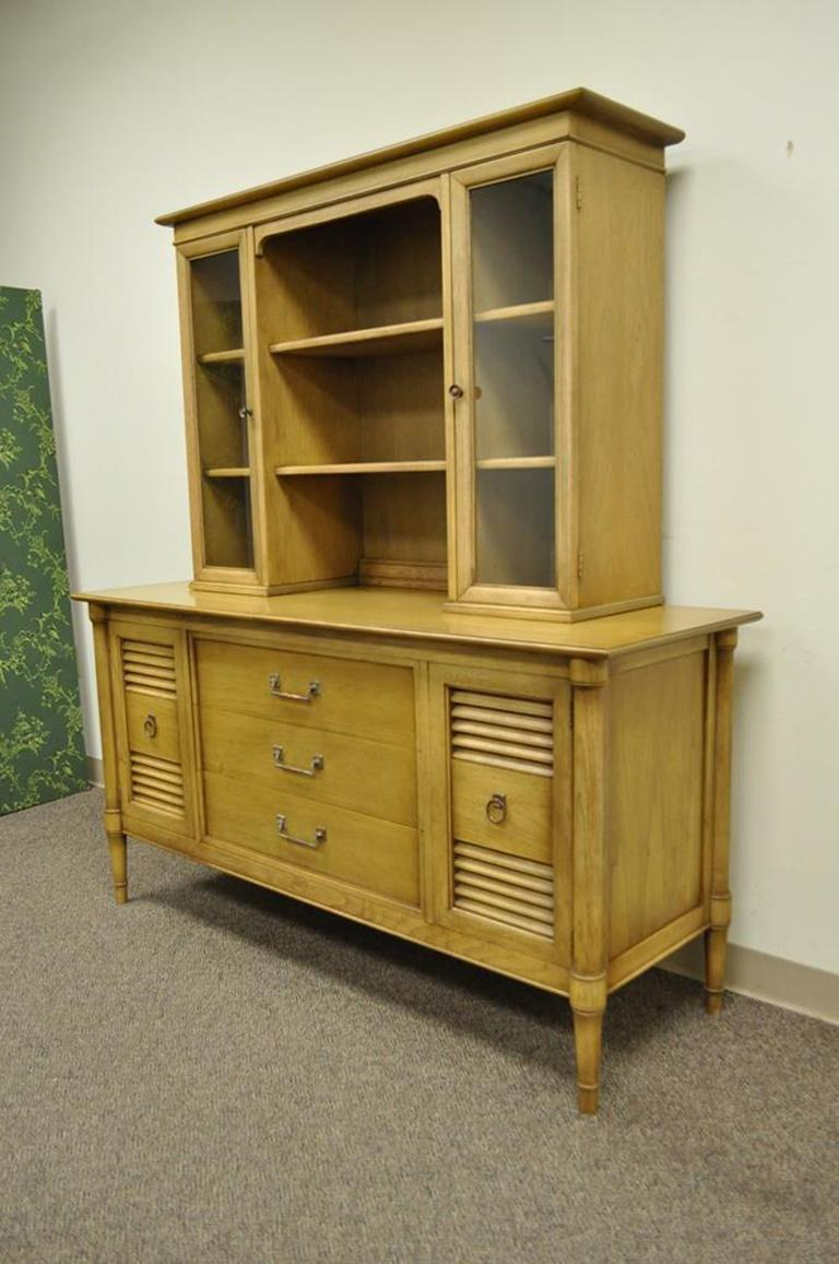 Vintage Mid Century Modern Two Piece China Cabinet By Drexel Furniture.  Item Features