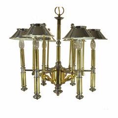 Vintage Mid-Century Modern Lightolier Chrome and Brass Art Deco Style Chandelier
