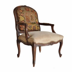Antique French Louis XV Style Walnut Needlepoint Bergere Fireside Armchair
