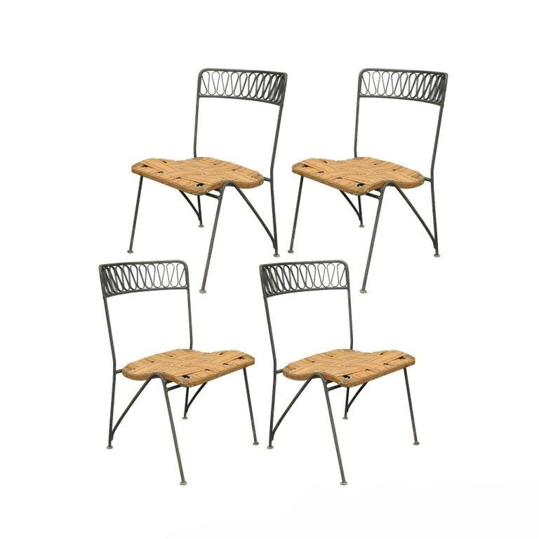Set of Four Maurizio Tempestini Salterini Ribbon Modern Iron Dining Chairs