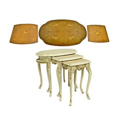 Three French Louis XV Carved Satinwood Inlaid Nest of Nesting Side Tables