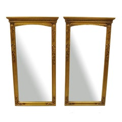 Pair of Vintage Gold French Style Tassel Frame Wall Mirrors Wood & Gesso