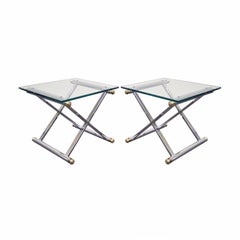 Vintage Mid-Century Modern Hollywood Regency Chrome Brass X-Form Side Table Pair