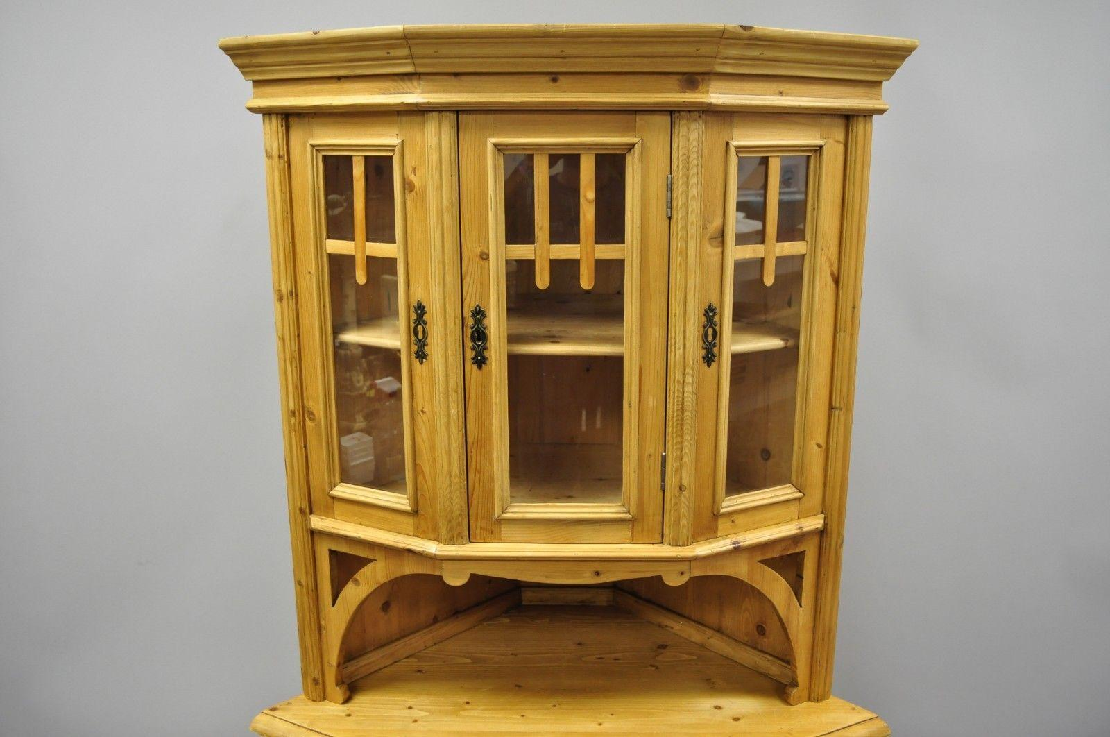 Pine Wood Country French Primitive Corner Cupboard Cabinet. Item Features  Solid Wood Construction, Beautiful