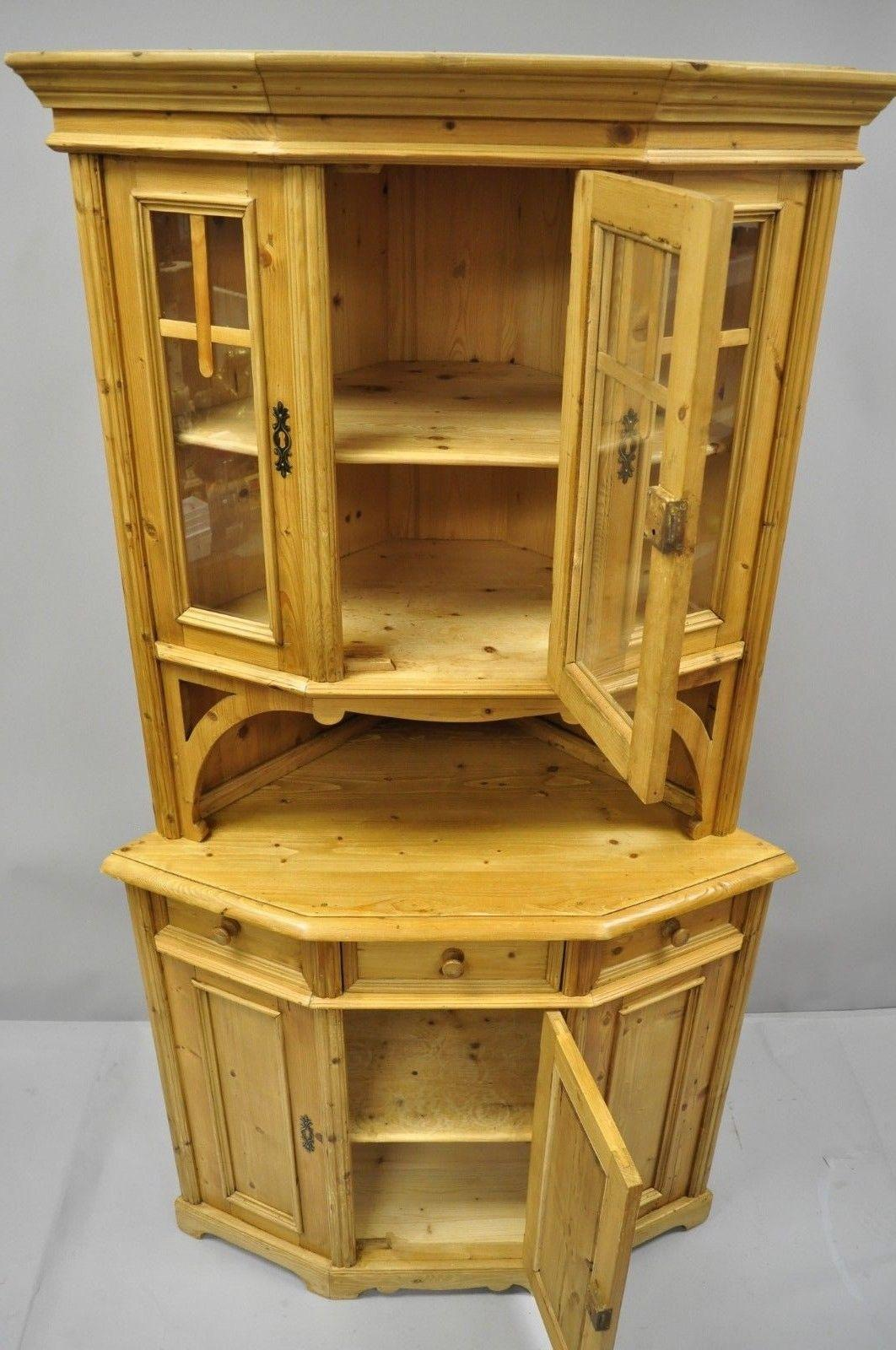20th Century Country French Gothic Primitive Corner China Cabinet Hutch  Pine Wood Cupboard For Sale