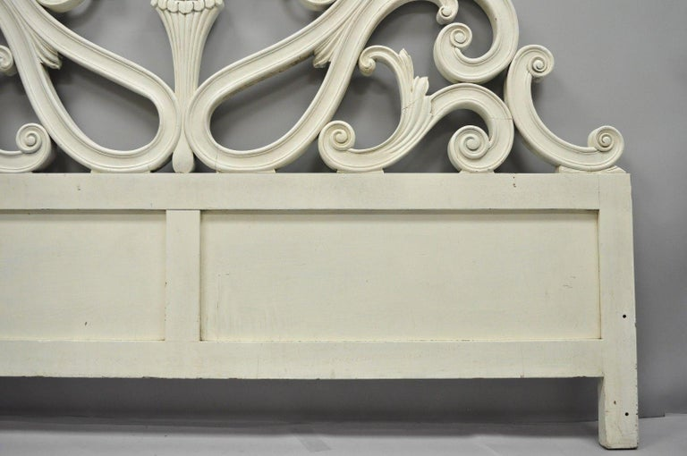 Vintage French Provincial Rococo Carved Wood King-Size Shabby Chic Headboard Bed For Sale 1