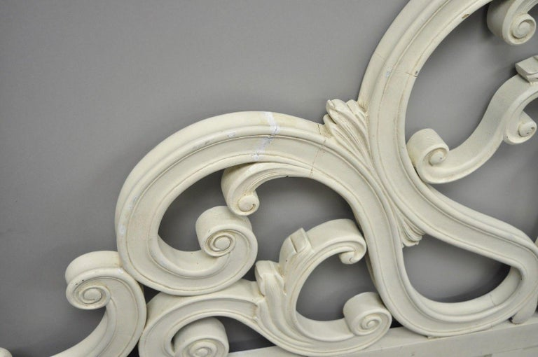 Vintage French Provincial Rococo Carved Wood King-Size Shabby Chic Headboard Bed For Sale 2