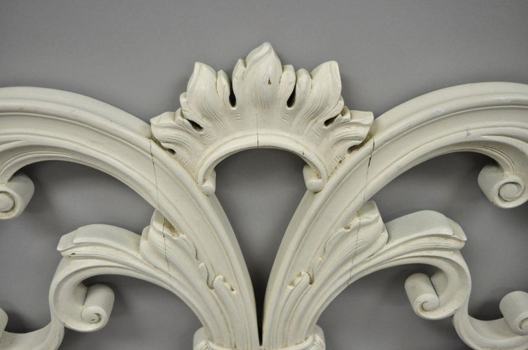 Vintage French Provincial Rococo Carved Wood King-Size Shabby Chic Headboard Bed For Sale 3