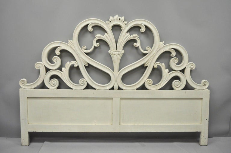 Vintage French Provincial Rococo Carved Wood King-Size Shabby Chic Headboard Bed For Sale 8