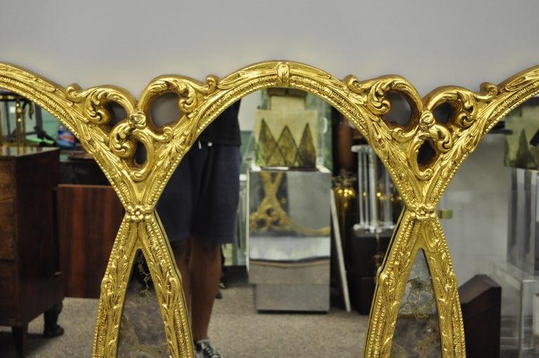 Gold French Hollywood Regency Triptych Triple Interlocking