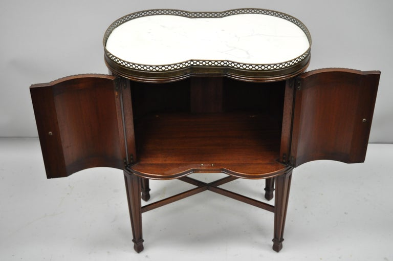 Marble Top French Louis XVI Maison Jansen Style Bombe Cabinet Side Table In Good Condition For Sale In Philadelphia, PA
