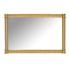 Hollywood Regency Faux Bamboo Wooden Wall Mirror Pink & Gold by Friedman Bro