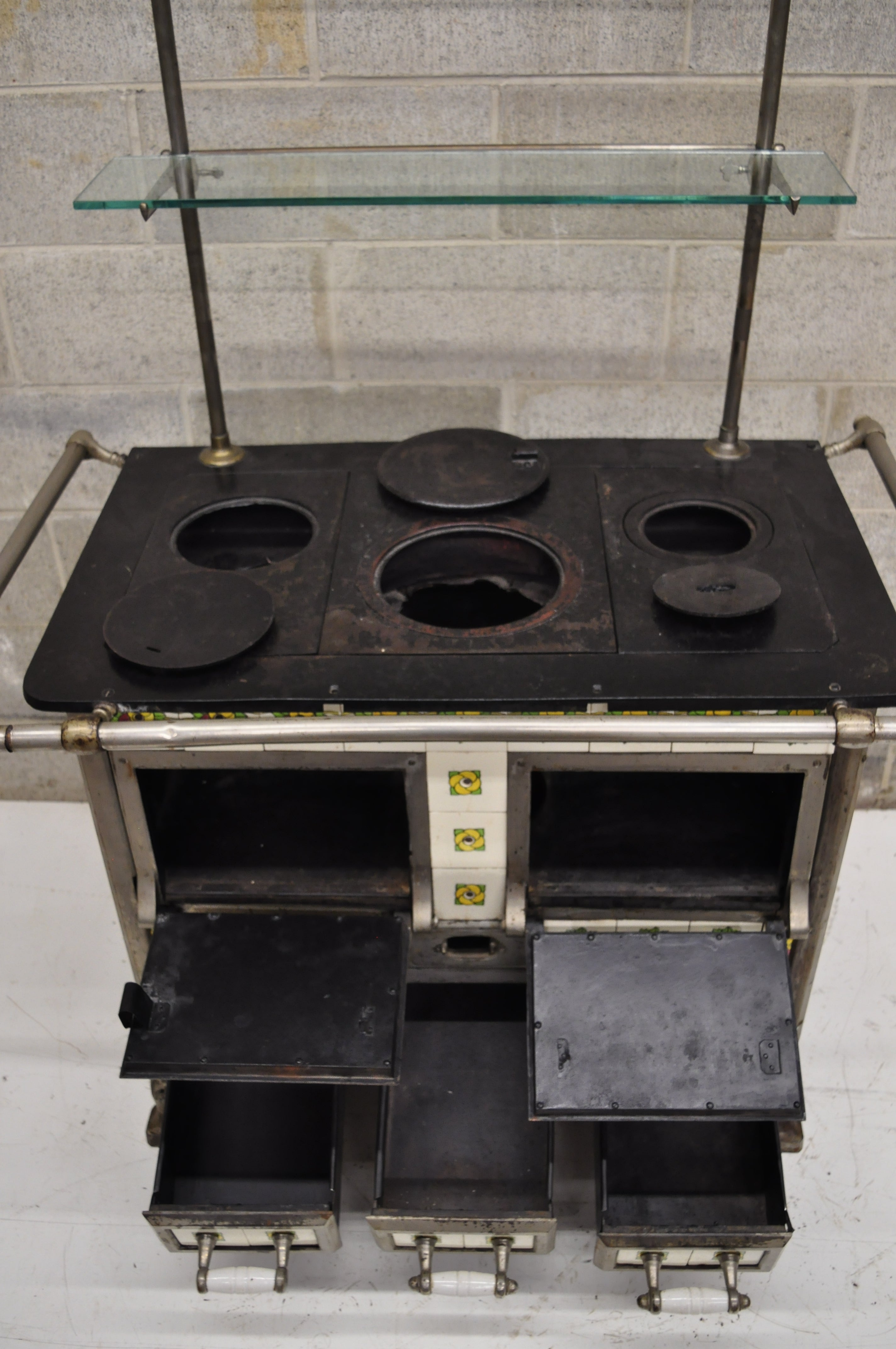 European French Or Belgium Cast Iron Art Nouveau Tile Wood Coal Burning  Stove For Sale At 1stdibs