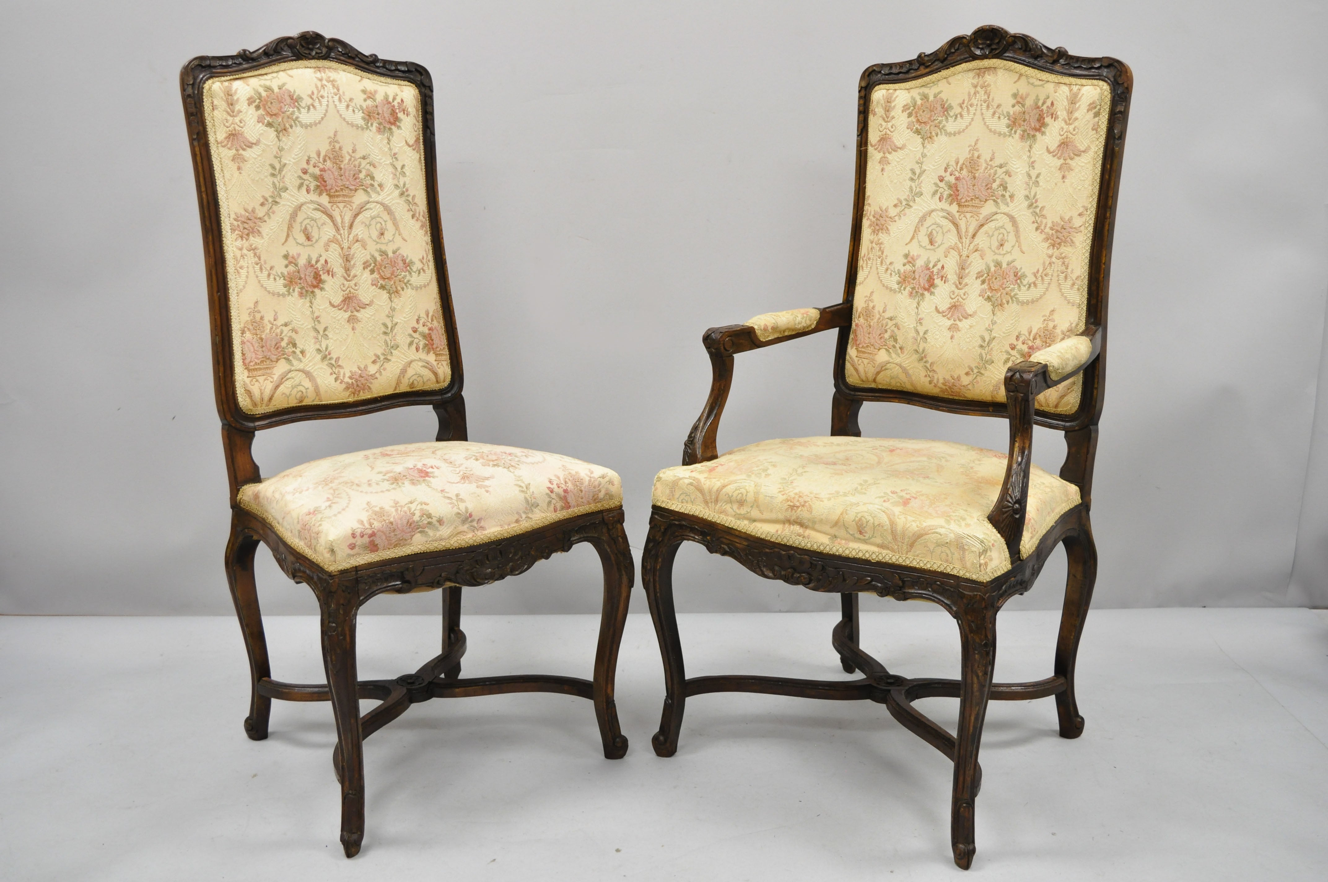 6 Vintage French Provincial Louis Xv Country Style Upholstered Dining Chairs Set For Sale At 1stdibs