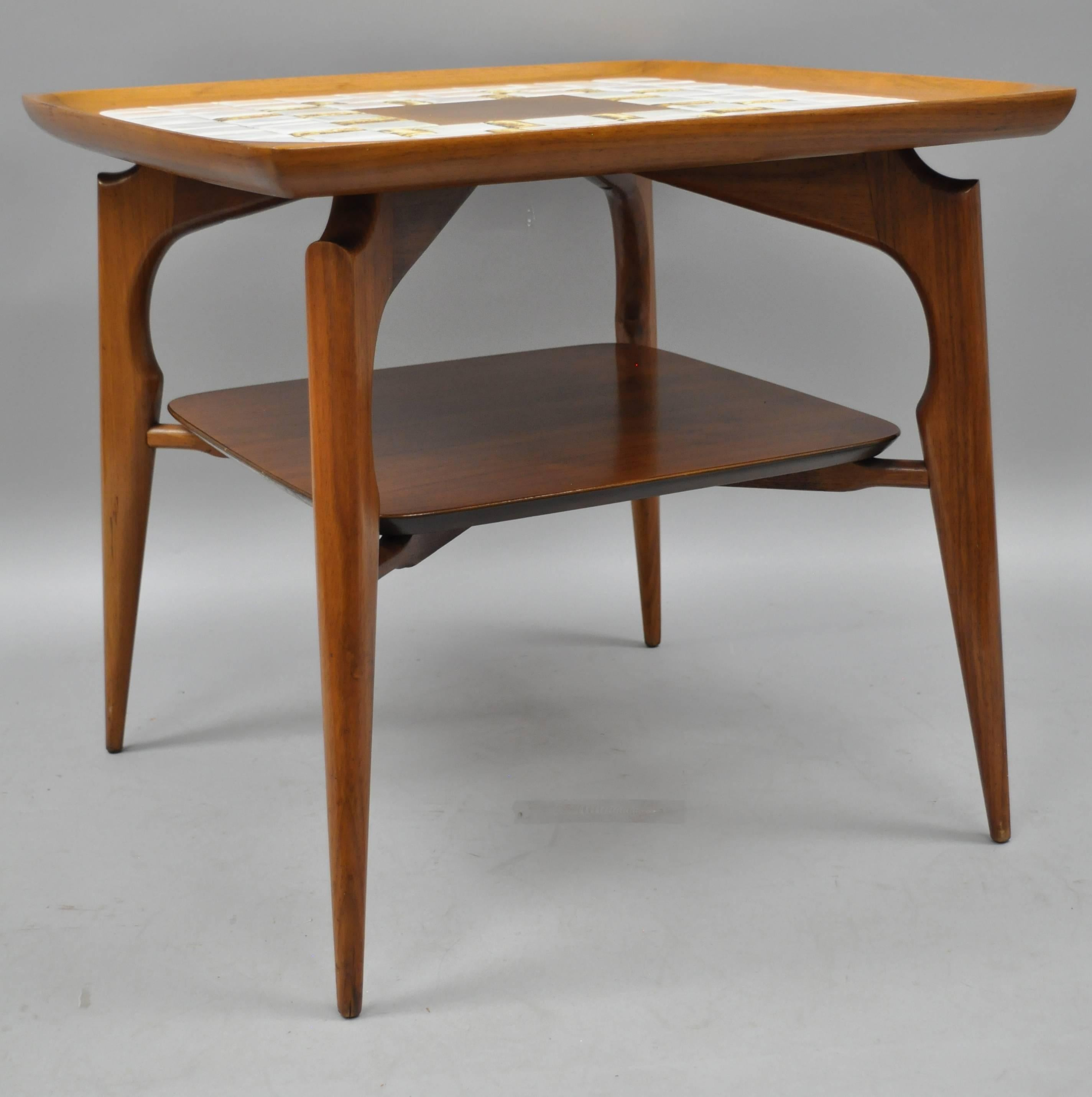 Pair Of Danish Modern Walnut And Tile Top End Tables. Item Features Mosaic  Porcelain Tile