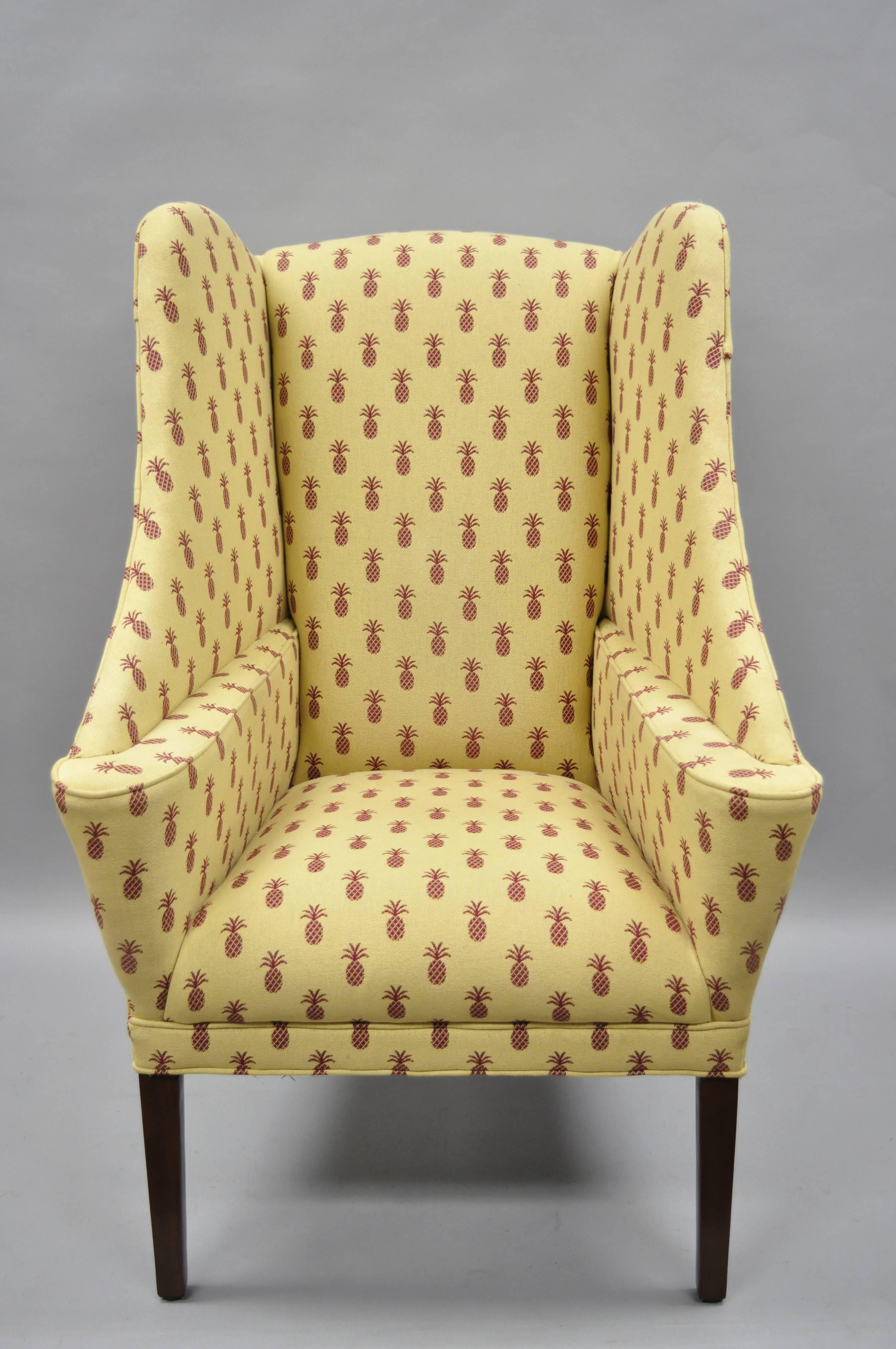 Pair Of Oversized Custom Wingback Chairs With Pineapple Printed Yellow  Fabric. Item Features Yellow Upholstery