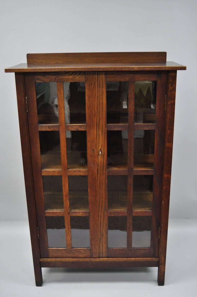 Gustav Stickley Mission Arts Crafts Oak Glass Door China Cabinet Curio Bookcase For Sale 10